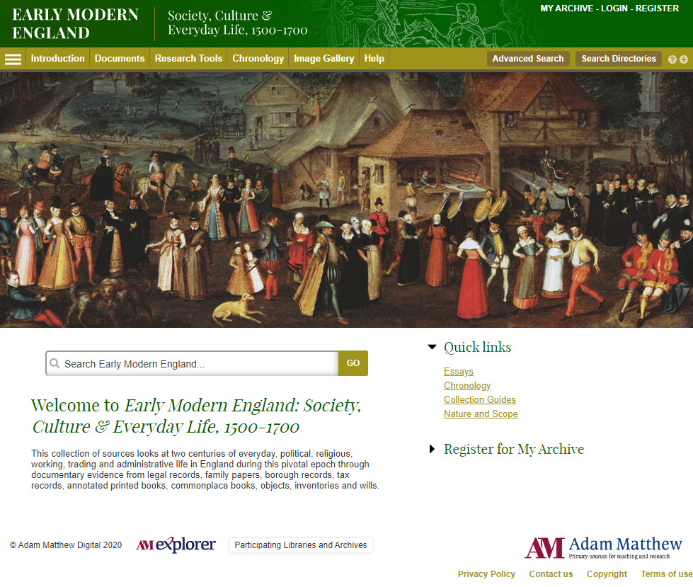 Screenshot of the homepage of Early Modern England